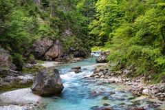 ` Orrido dello Slizza `自然区域看法在塔尔维肖地区 Friuli Venezia Giulia,意大利 库存照片