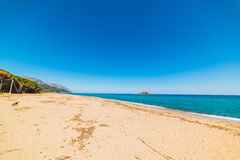 Is Orrosas beach shoreline. Sardinia Stock Images