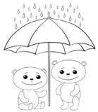 Orsacchiotti ed ombrello, contorni Immagini Stock