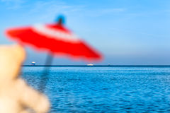 Orsacchiotto con passione di viaggio al mare Fotografie Stock Libere da Diritti
