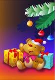 Orsacchiotto dall'albero di Natale con i presente Fotografia Stock Libera da Diritti