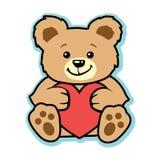Orsacchiotto del biglietto di S. Valentino con cuore rosso Fotografie Stock Libere da Diritti