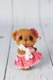 Orsacchiotto dell'artista di Brown in vestito rosa uno del genere Immagini Stock Libere da Diritti