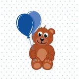 Orsacchiotto di Brown con i palloni blu illustrazione vettoriale