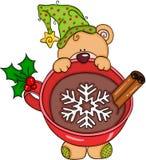 Orsacchiotto di Natale con cioccolata calda royalty illustrazione gratis