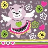 Orsacchiotto floreale con l'illustrazione dell'ala Immagini Stock Libere da Diritti