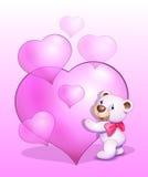 Orsacchiotto nell'amore, giorno di biglietti di S. Valentino Fotografie Stock Libere da Diritti