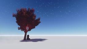 Orsacchiotto sotto un albero. Fotografia Stock