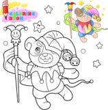 Orsacchiotto sveglio che balla, illustrazione divertente, libro da colorare illustrazione di stock