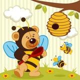 Orsacchiotto vestito come ape Fotografia Stock