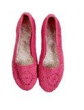 Orsaklig rosa dam Shoes på vit bakgrund Arkivbilder