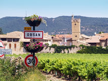 Orsan, french typical village. Orsan exudes the typical charm of the villages of the south - serene, sunny and calm, this is an excellent base to relax and from Stock Photo