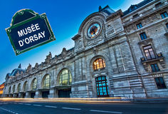 Orsay museum at night with a street plate, Paris Royalty Free Stock Photo
