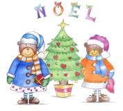 Orsets de la Navidad con el árbol de navidad fotografía de archivo libre de regalías