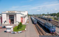 Orsha, Belarus - June 8, 2014: Railway station on sunny summer day Royalty Free Stock Images