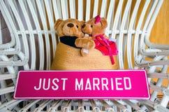 Orsi adorabili delle coppie ed APPENA segno SPOSATO Fotografia Stock