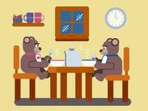 Orsi bruni del fumetto che mangiano minestra a casa Immagine Stock Libera da Diritti