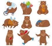 Orsi del fumetto L'orso felice, orso grigio mangia il carattere dell'orso bruno e del miele nell'illustrazione di vettore isolata illustrazione vettoriale