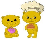 Orsi dell'orsacchiotto con il contenitore di regalo e di torta royalty illustrazione gratis