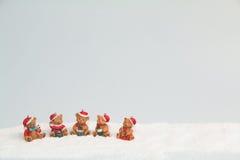 Orsi di Natale in cartolina della neve Fotografie Stock Libere da Diritti