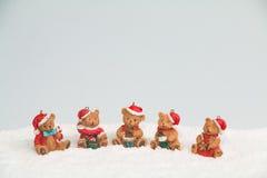 Orsi di Natale in neve Immagine Stock Libera da Diritti