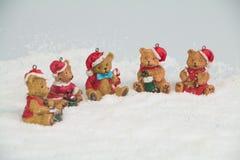 Orsi di Natale in regalo della neve Fotografia Stock Libera da Diritti