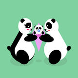 Orsi di panda della famiglia con un neonato Fotografia Stock Libera da Diritti