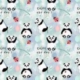 Orsi di panda svegli senza cuciture con bambù su fondo leggero royalty illustrazione gratis