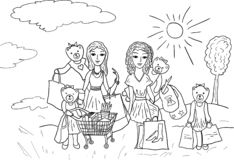 Orsi e ragazze divertenti dei personaggi dei cartoni animati con i sacchetti della spesa royalty illustrazione gratis