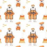 Orsi polari che cuociono i biscotti di zucchero Reticolo senza giunte di arte illustrazione di stock