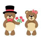 Orso adorabile sveglio del fumetto in cappello con i fiori e la ragazza dell'orso con l'insieme dell'arco Fotografie Stock Libere da Diritti