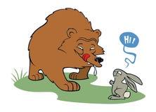 Orso affamato che incontra coniglio amichevole Immagine Stock