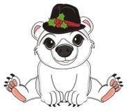 Orso bianco in black hat Illustrazione di Stock