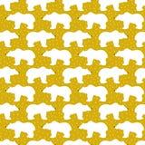Orso bianco con gli elementi dorati Modello brillante di Natale Fotografie Stock