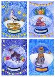 Orso bianco, leopardo, cervo, tricheco, cicogna in una palla di neve illustrazione di stock