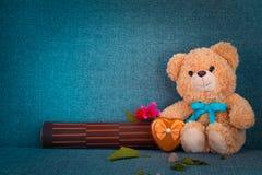 Orso che si siede sul sofà Fotografia Stock Libera da Diritti