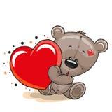 Orso con cuore illustrazione vettoriale