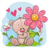 Orso con cuore ed il fiore illustrazione vettoriale