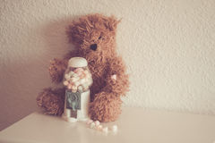 Orso con distributore di caramelle Royalty Free Stock Images