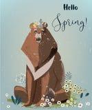 Orso con i fiori royalty illustrazione gratis