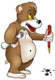 Orso con la penna illustrazione vettoriale