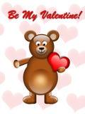 Orso dei biglietti di S. Valentino con cuore Immagine Stock Libera da Diritti