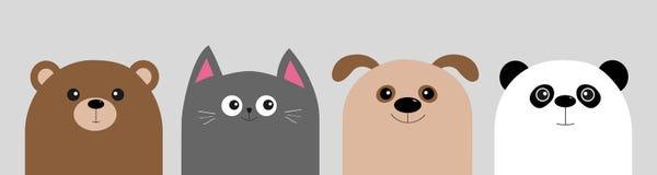 Orso del bambino di kawaii del fumetto, gatto, cane, panda Insieme capo animale dell'icona del corpo del fronte Carattere sveglio illustrazione di stock