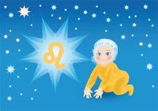 Orso del bambino nell'ambito di un segno uno zodiaco Leo Immagine Stock