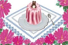 Orso del dolce dell'aster della tovaglia del cucchiaio del piatto illustrazione di stock