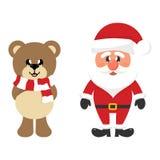 Orso del fumetto di natale di inverno con la sciarpa ed il Babbo Natale royalty illustrazione gratis
