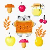 Orso del fumetto ed insieme del raccolto di autunno dei funghi, mele, bacche, miele, foglie per la progettazione della carta da p royalty illustrazione gratis