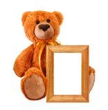 Orso del giocattolo con il blocco per grafici della foto Fotografie Stock