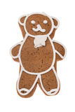 Orso del pan di zenzero di Natale isolato su un fondo bianco Fotografia Stock Libera da Diritti