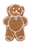 Orso del pan di zenzero di Natale isolato su un fondo bianco Fotografia Stock